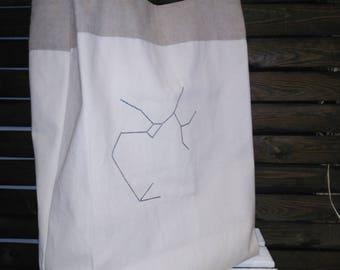 Market constellation canvas  bag, reusable tote bag, eco-friendly bag,  glowing stars market bag