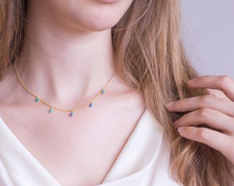 Dainty Opal Necklace, Bridesmaid Gift, Gold Layering Necklace, Tear Drop Opal, Boho Necklace, Minimalist, Tiny White Opals, Bridal Jewelry