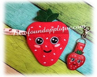 In the hoop Strawberry Zipped Cases and Key Fob Embroidery Machine Design