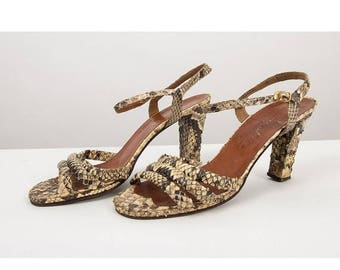 FLASH SALE... Vintage snakeskin strappy sandals / 1970s Studio 54 disco ankle strap heels 9