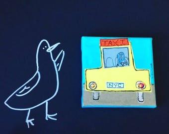 City pigeon originial on canvas