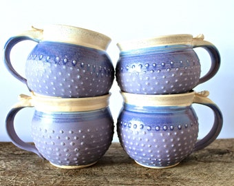 Pottery Mug, Ceramic Handmade Wheel-Thrown Mug, Lavender and Vanilla Bean, Porcelain Dots