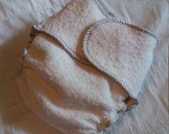 Snap-less Organic Bamboo Hemp Fleece Fitted Diapers OS