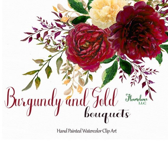 Burgundy And Gold Watercolor Clipart Burgundy Watercolor