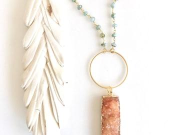 Orange Druzy Stone Necklace. Layering Necklace. Long Orange Stone Necklace. Beaded Necklace. Boho Jewelry. Pendant. Gift.