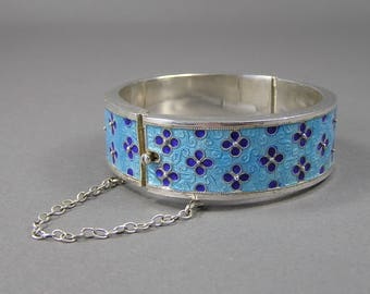 Chinese Export Bracelet, Champlevé Enamel, Turquoise and Cobalt, Cloisonne, Sterling Silver, Flower, Forget Me Not, Vintage Chinese Jewelry