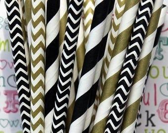 GLAM SALE SALE - Gold Metallic and Black Paper Party Straws, Gold and Black Party Favor Straws, Wedding Straws, Birthday Straws, Cake Pop St
