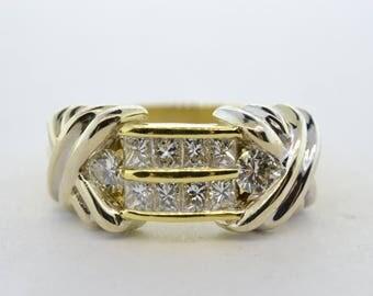 18k Yellow and White Gold Diamond Anniversary Band- Size 7.5