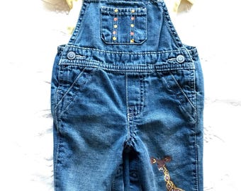 Giraffe One of a kind baby jean overalls with matching organic cotton bodysuit one size only 3-6 months