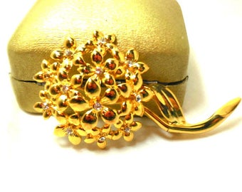 Floral Brooch Hydrangea Bright Gold tone with Rhinestones Vintage Statement Modern Gift