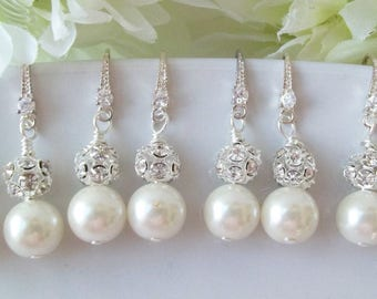 Set of 4 Ivory Pearl Bridesmaid Earrings Pearl and Rhinestone Earrings,4 Pairs Bridesmaids Earring, Set of 4, Swarovski White or Cream