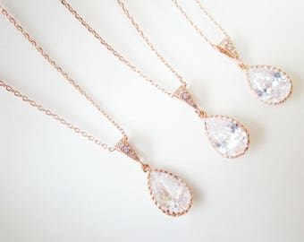 Set of 6 Bridesmaid Necklaces, Rose Gold Bridesmaid Necklaces, Six Bridesmaid Necklaces, Cubic Zirconia Rose Gold Necklaces, Teardrop