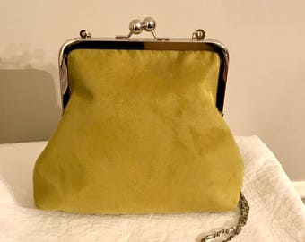 Suede Kisslock Crossbody Bag