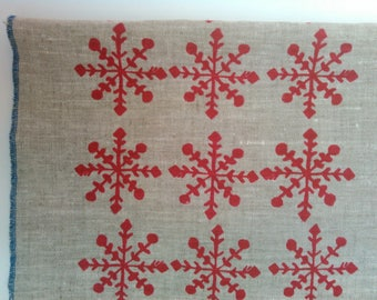 Tea Towel Set, Hand printed Linen, Snowflakes, Nordic Design, Red on Natural, Red on White