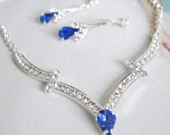Blue Wedding Hair Jewelry - Blue Bridal Jewelry - Wedding headpiece - Rhinestone Blue hair jewelry - Backdrop Bridal Hair floating Illusion