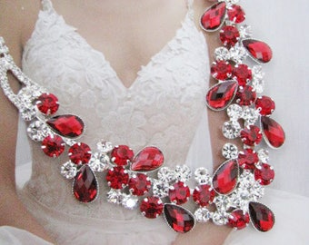 Red Wedding Necklace Backdrop Necklace Bridal Necklace - Bridal Jewelry - Wedding Necklace - bridal set- Backdrop Bridal Necklace