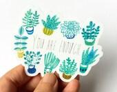 Succulent Sticker, You're Enough, Succulent Vinyl Sticker, Succulent Line Drawing, Crazy Plant Lady Gift, Laptop Sticker, Best Friend Gifts