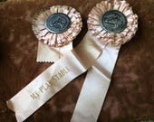 Shabby Worn Vintage Pink Horse Show Ribbon Aged Spots And All