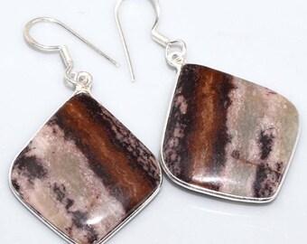 Beautiful Jasper Earrings, 925 Silver, One of a Kind