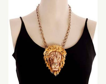 """SAVE 20% Vintage Bling Razza Necklace Huge Lion Head Fob  4"""" Tall Unique"""