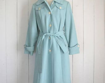 34% Off Sale - Vintage Trench Coat - Belted Rain Coat - 1960s Mid Century Womens Coat - Baby Blue - Medium M