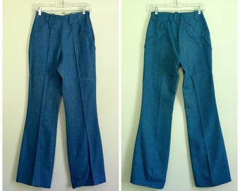 """vintage western 1970s tailored high waisted wide leg blue pants 25"""" - 26"""""""