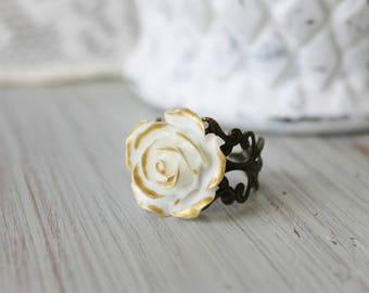 Victorian Style Ring - White Rose Ring - Gold Rose Ring - Lace Filigree Ring - Romantic Rose Ring - Bridesmaid Jewelry - Adjustable Ring