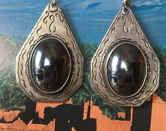 Old SILVER Berber Earrings with Magnetite Cabochon, South Morocco