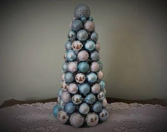 "Christmas TABLE TOP Tree 17"" Shatterproof Light BLUE and Silver Christmas Decor"