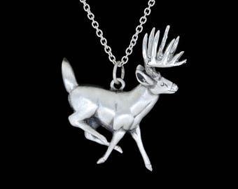 Sterling Silver Running White Tail Deer Buck with a Satin Finish Pendant or Necklace (Optional Chain)