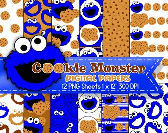 Cookie Monster Digital Paper, Cookie Monster Birthday party, Cookie Monster party favors, Digital background