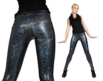 Black Hologram Jeans Back Leggings, Holographic Glitter Spandex Pants, Glam Rock Stage Wear, Back Pockets, Burning Man, by LENA QUIST