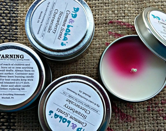 Strawberry Cheesecake Scented Travel Tin Candle - Pip & Lola's Common Scents - Soy Candle Wax, Travel Tin, EcoSoy, Candle, Lightly Scented