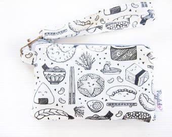 Mini Wristlet Coin Purse / Phone Case and Waterproof Lining - Sushi