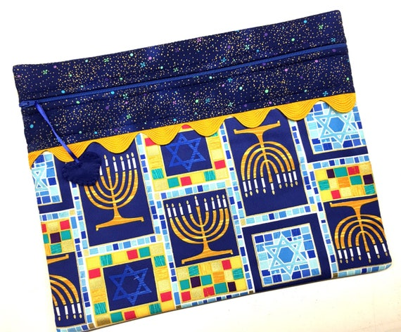 Hannukkah Menorah Cross Stitch, Embroidery Project Bag