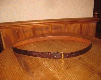 GENUINE  ALLIGATOR   Belt     Steerhide Lined   with  Brass Buckle      Size  34