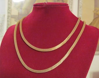 Vintage Gold Tone Mesh Necklace / Choker Double Strand