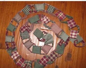 ON SALE Handmade  Homespun Fabric Chain Garland 8 feet strands