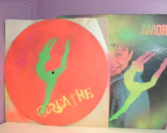 Original Stencil Record Painting Ballerina in Grand Jete on Vinyl by Jessica Pope - Repurposed Materials Art