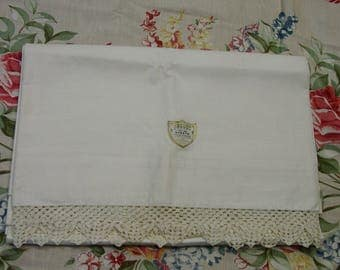 Vintage Bed Sheet Full Size Pequot Never Used with Label and Crochet Edge Beautiful