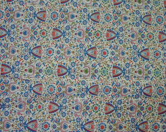 """Vintage Feedsack Fabric 36 x 36"""" Fringed for Tablecloth Darling Novelty Print Scandinavian"""