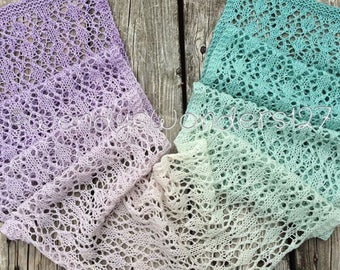 Lace Scarf, Hand Knit, Knit Lace Scarf, Gradient Color, Knit Scarf, Handmade Gifts, Gifts for her
