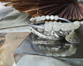 Handstamped bracelet, inspirational bangle, moon stone bracelet, personalized jewelry, maternity bracelet, boho bracelet, mom bracelet