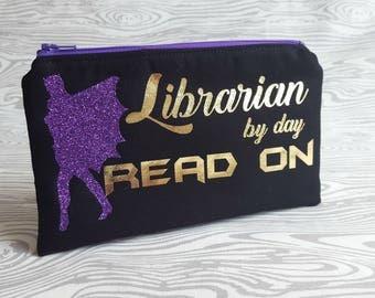 Batgirl Zipper Pouch, Bat Girl bag, Geek Chic, Fandom, Geek, Fandom Merch, Librarian Gifts, Superpower, Super hero, Superhero, We Do Geek
