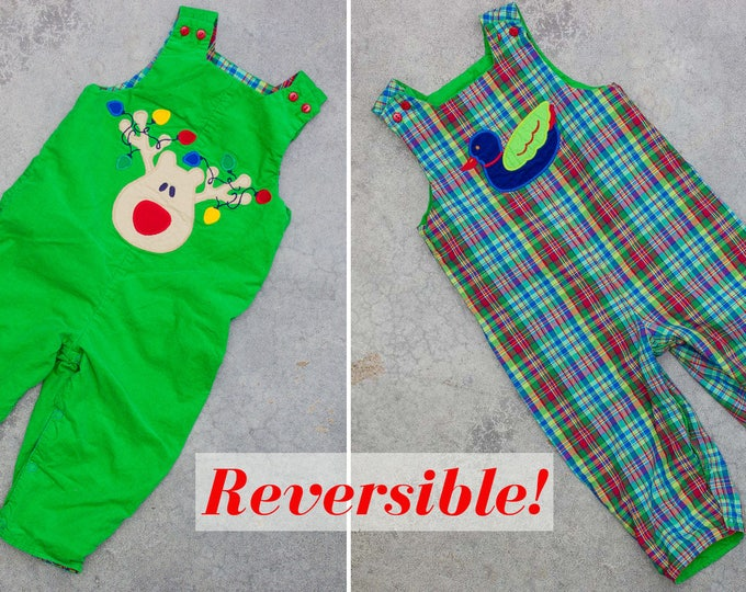 Reversible Kids Overalls 24M 2T Bright Green Corduroy Rudolph Christmas | Plaid Duck | USA Coveralls 7ND