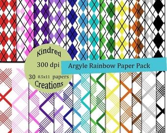 99 Cent Sale Argyle Rainbow Digital Paper Pack 300 dpi 8.5x11 30 papers For Personal or Small Business Use