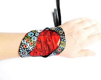 Rock punk, statement cuff, textile, leather, mixed media,tribal, ethnic,indian maya, ooak,contemporary, urban, I'll be bad