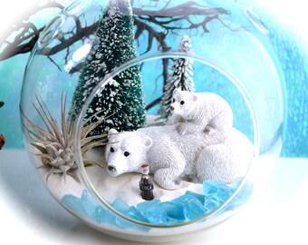 "Winter Polar Bear Terrarium Kit ~ 6"" Air Plant Terrarium Kit ~ Snow White Sand ~ Frosted Trees ~ Snow Globe Terrarium Kit ~ Winter ~ Gift"
