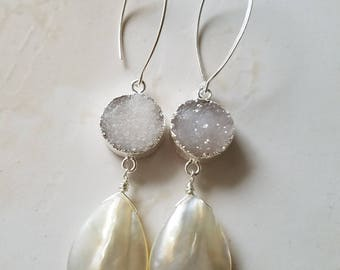 Pearl Drop Earrings - Druzy Earrings - Mother of Pearl earrings - Sterling Silver - Long Earrings- Agate Jewelry - Boho Bride - White Druzy