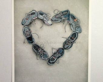 11 x 14 Running Art Print - Reproduction of Original 'Run Love'  Running Shoe Heart Drawing - Gift Idea for Runner, wedding gift, home decor